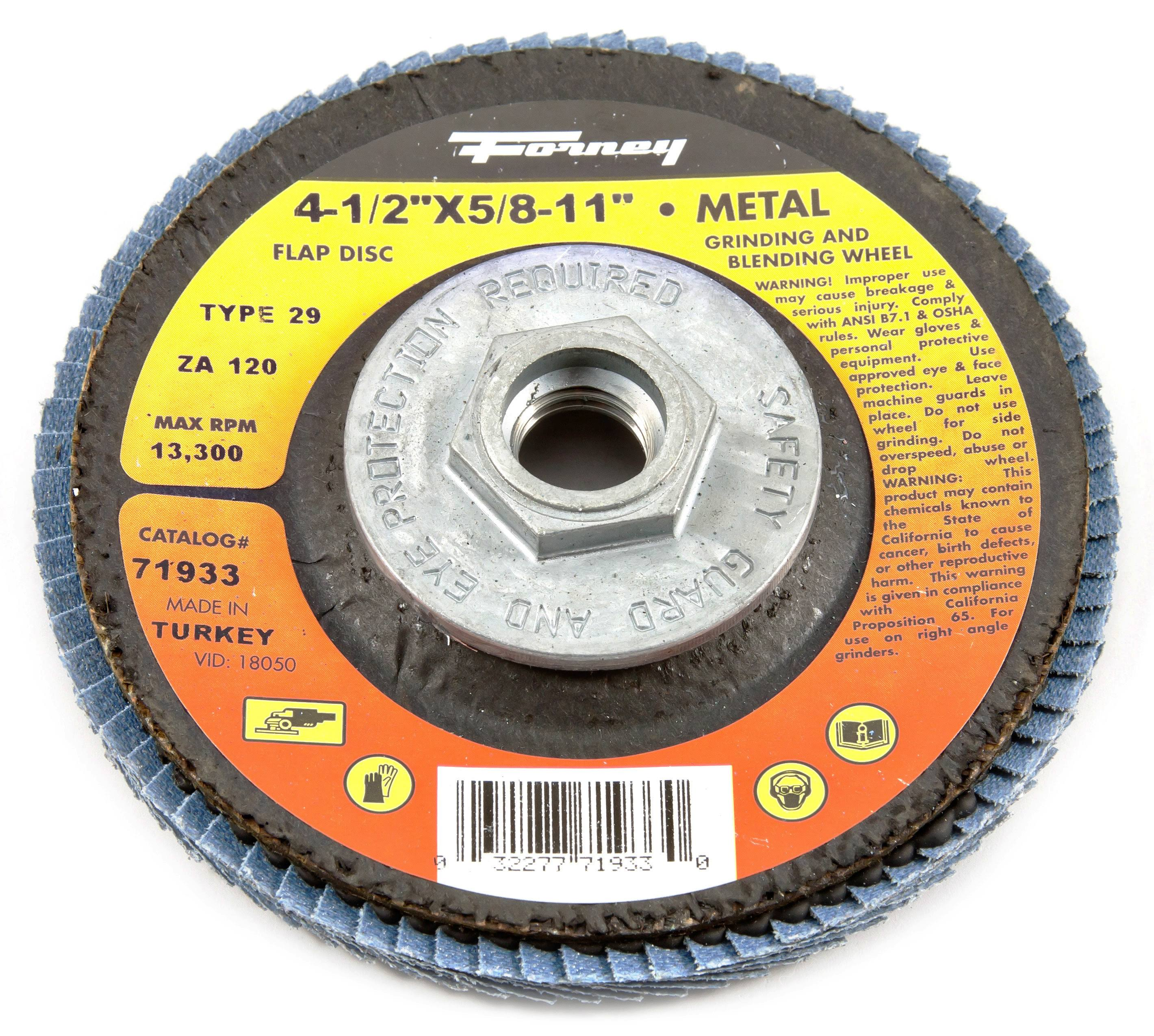 Forney Industries Type 29 Blue Zirconia Flap Disc - 4-1/2in x 5/8in-11, 120-Grit