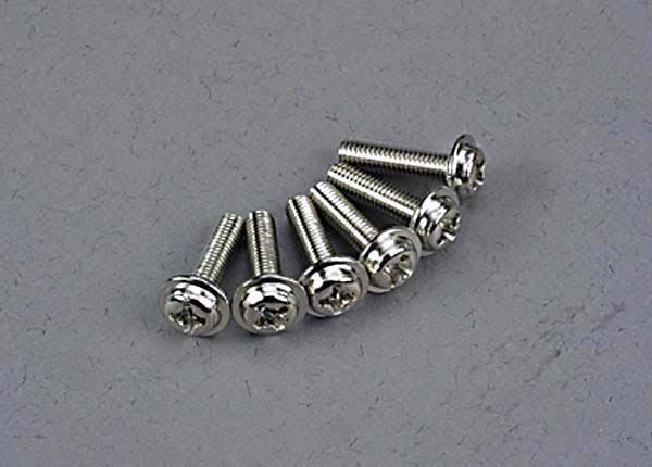 Traxxas 3186 Washer-Head Machine Screws - 3 x 12mm, Set of 6