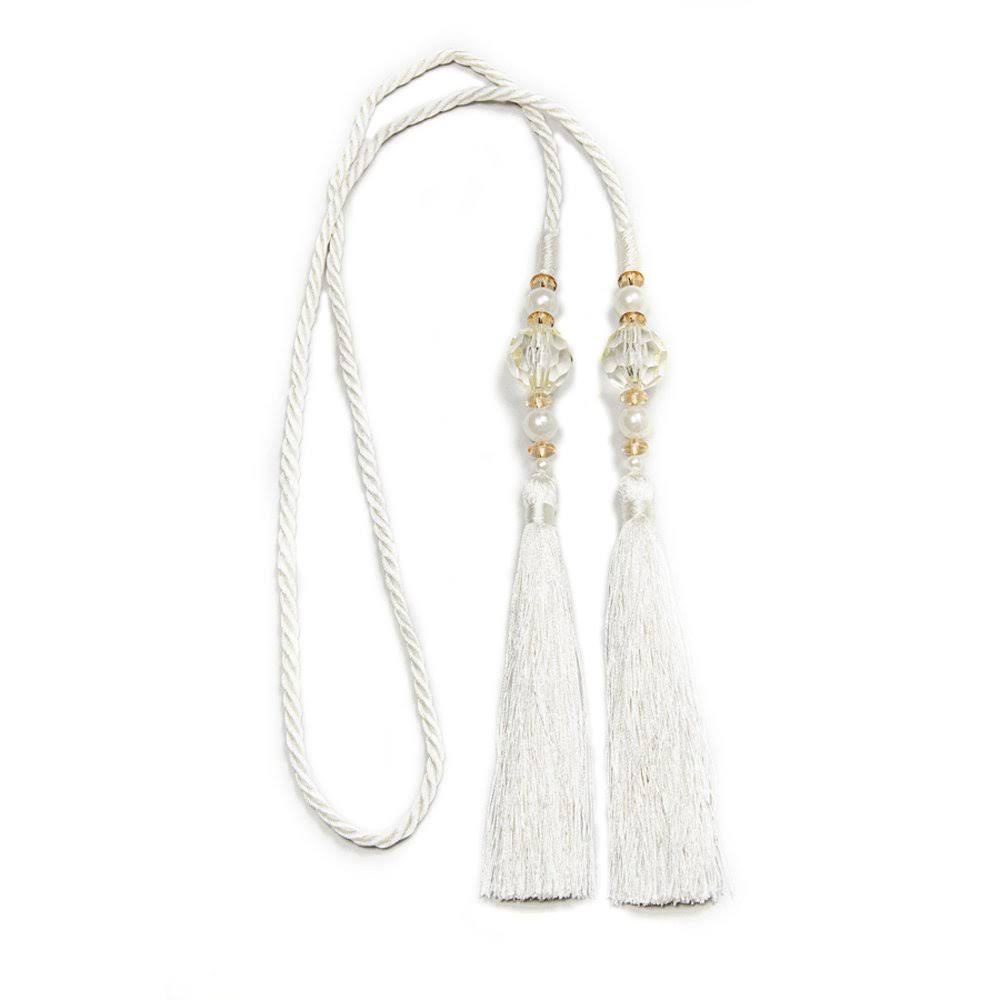 Kenney Small Bead Rope Window Curtain Tieback White