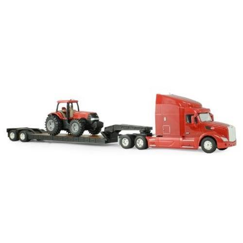 Tomy Ertl Big Farm Peterbilt Model 579 Semi with Lowboy and Case Tractor Bac Toy Set