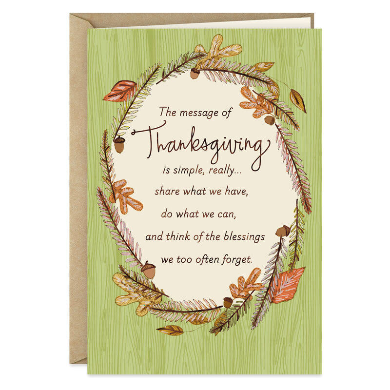 Blessings Fall Wreath Thanksgiving Card