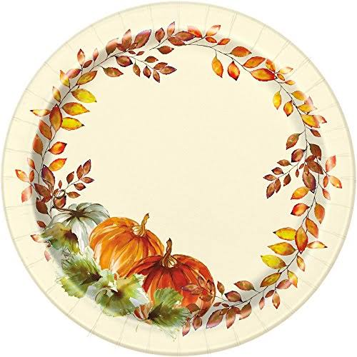 Unique Watercolor Pumpkins Fall Paper Plates, 7 in, 8ct