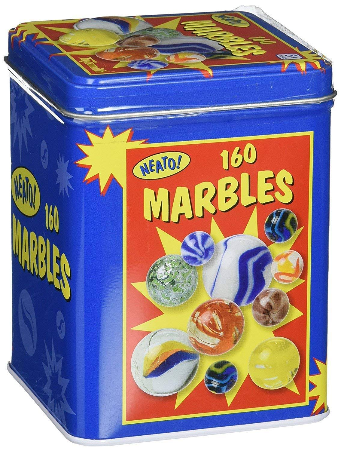Toysmith Marbles in a Tin Box - 160ct, Multi-colored