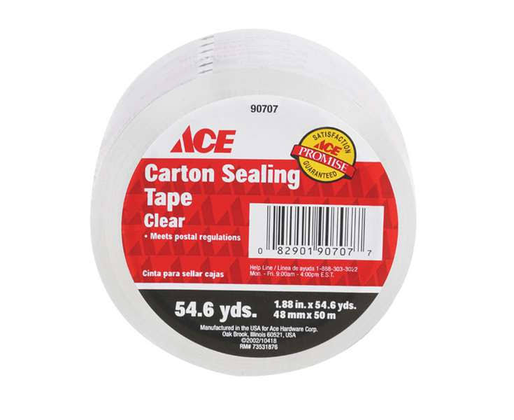 Ace Carton Sealing Tape, Clear, 54.6 yd