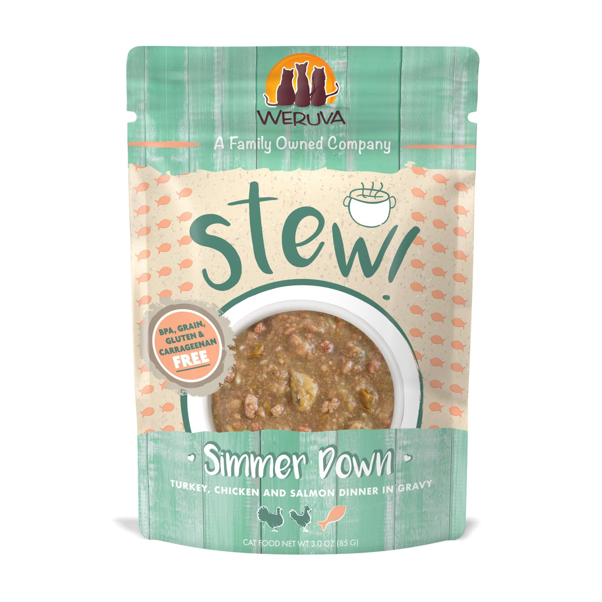 Weruva Stew! Simmer Down Turkey, Chicken and Salmon Dinner Wet Cat Food, 3 oz.