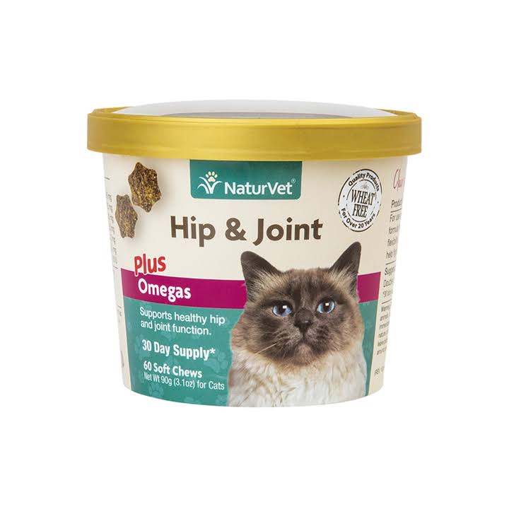 NaturVet 79903641 Hip and Joint Plus Omegas Cat Soft Chew Supplement - 60ct