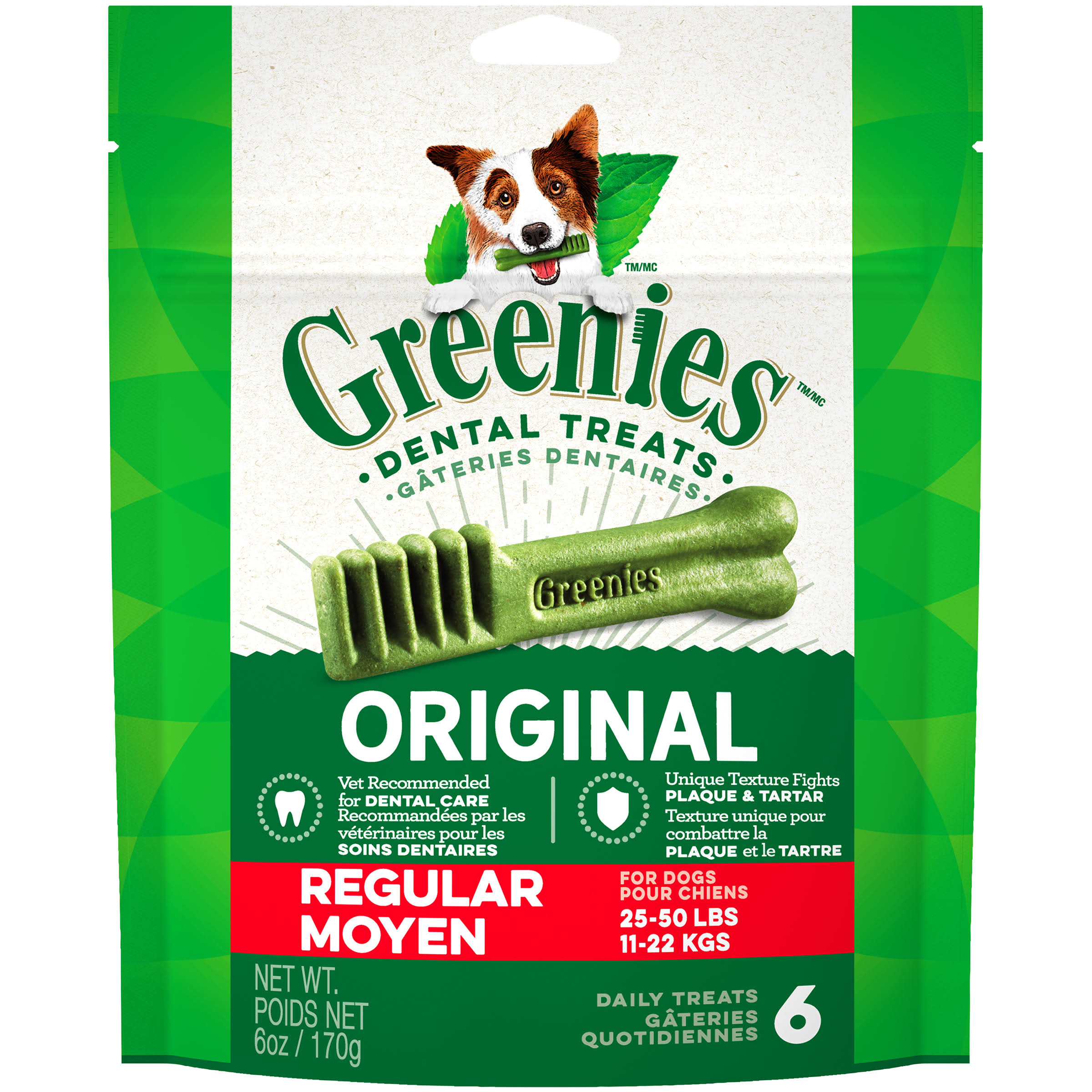 Greenies Dog Dental Chew Treats - Regular, 170g