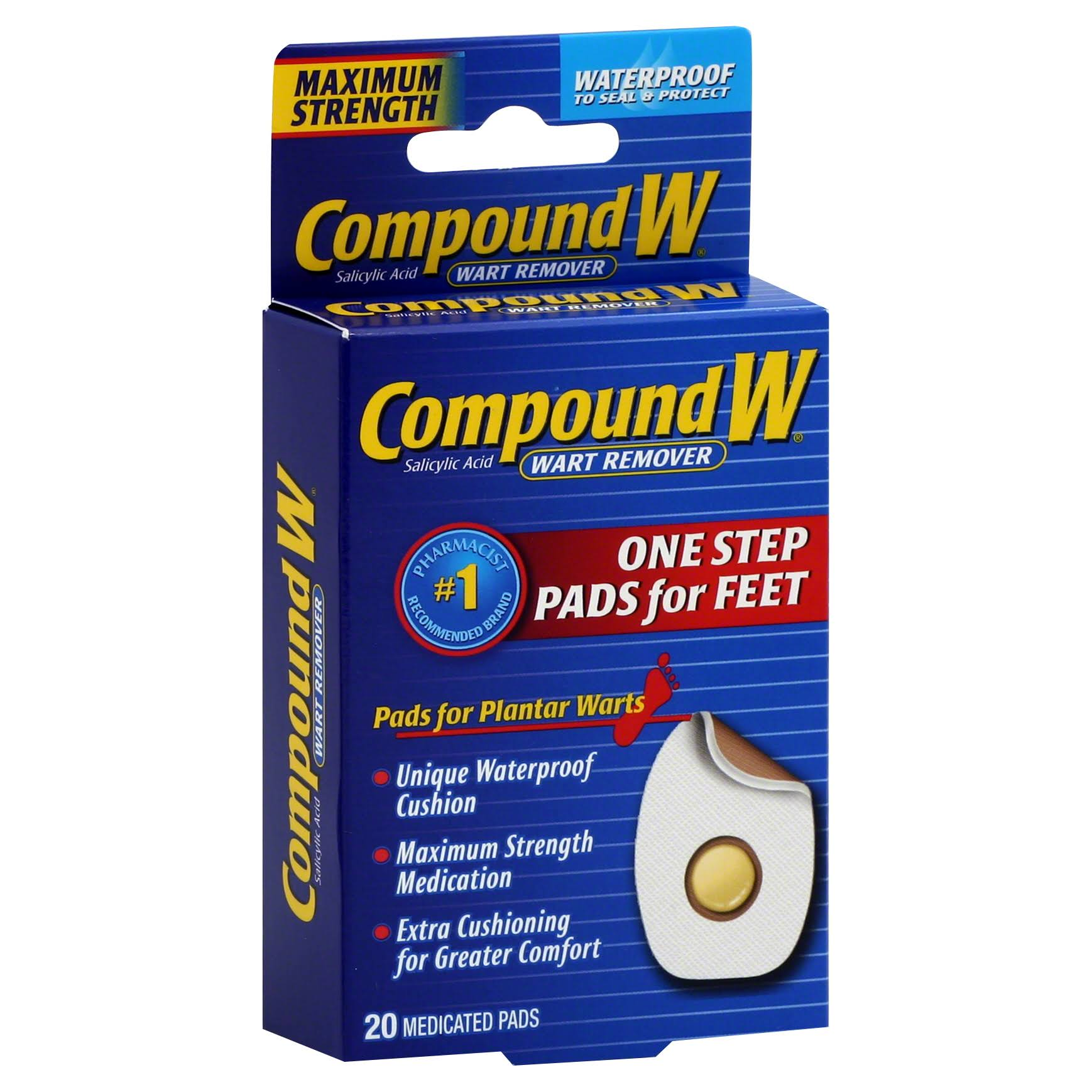 Compound W One Step Plantar Foot Pads Wart Remover - 20ct