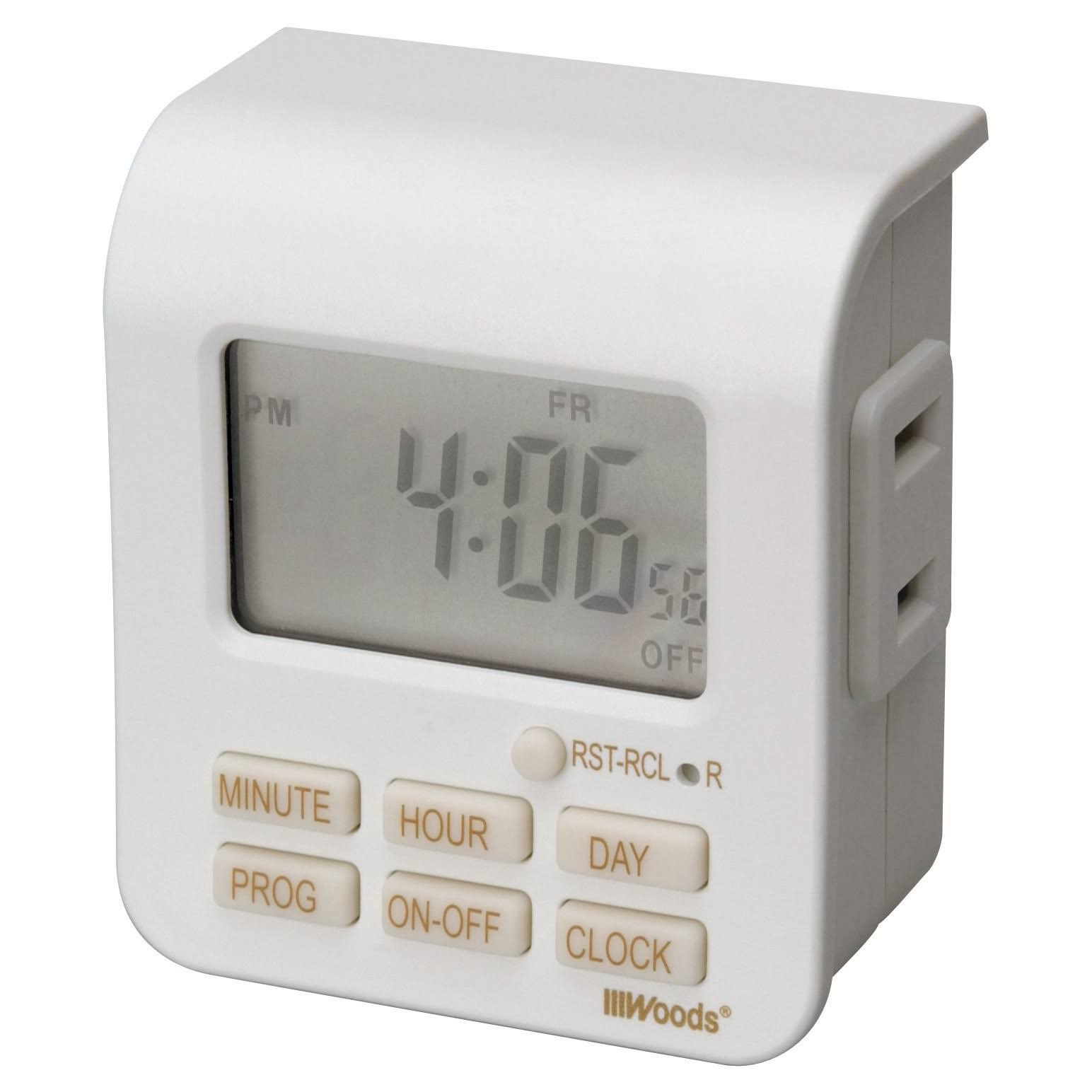 Woods 7-Day Digital Indoor Lamp Timer - White