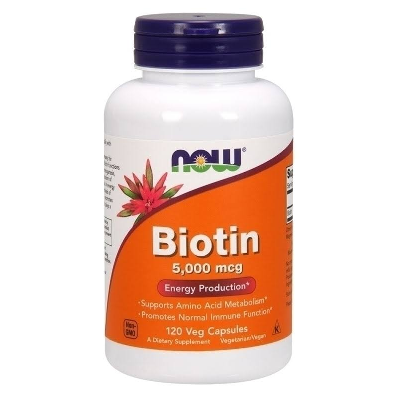 Now Foods Biotin - 5000mcg, 120 Vegetarian Capsules