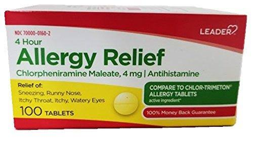 Leader 4 Hour Allergy Relief, 100 EA - 1 Pack