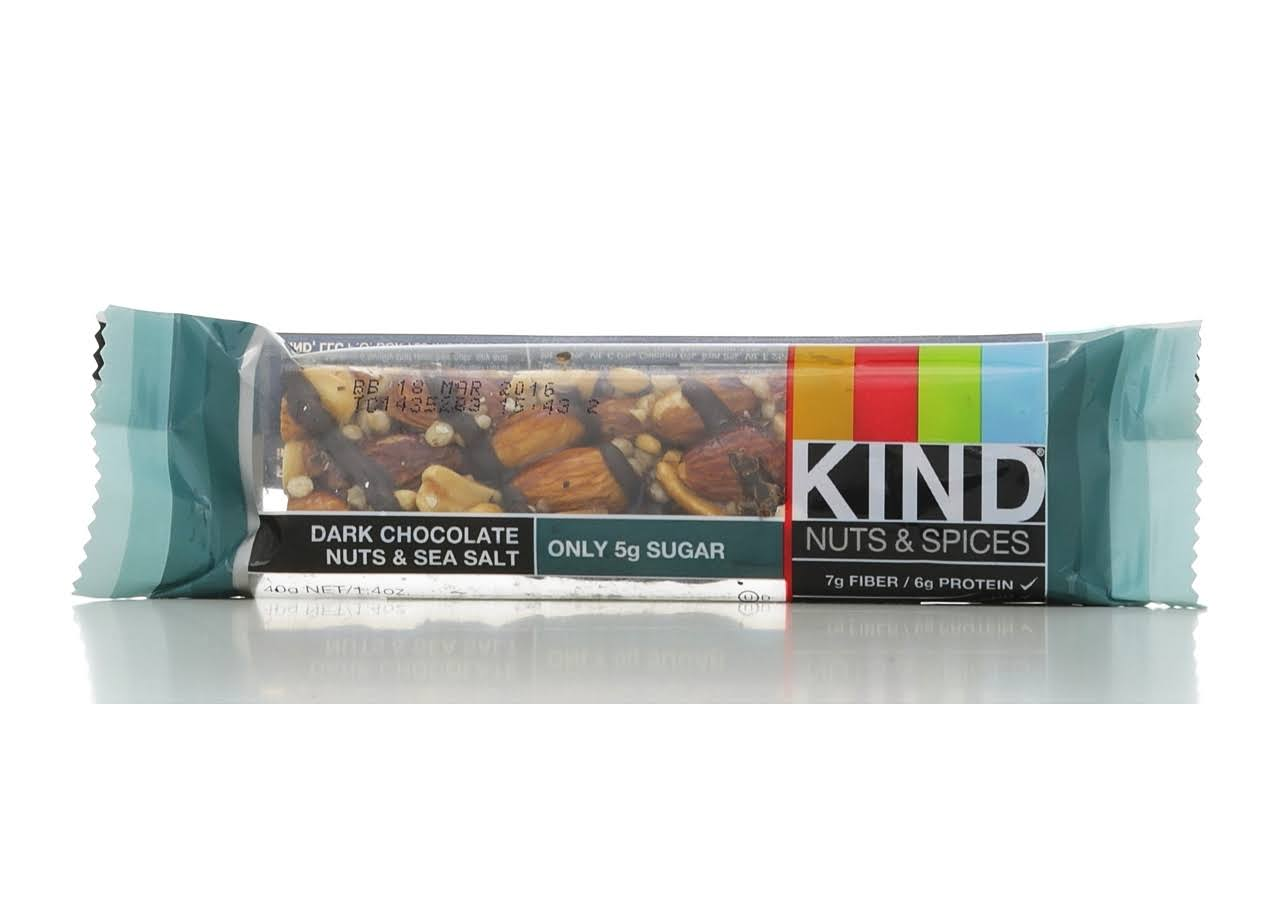 Kind Nuts & Spices Bar, Dark Chocolate & Sea Salt - 1.4 oz bar