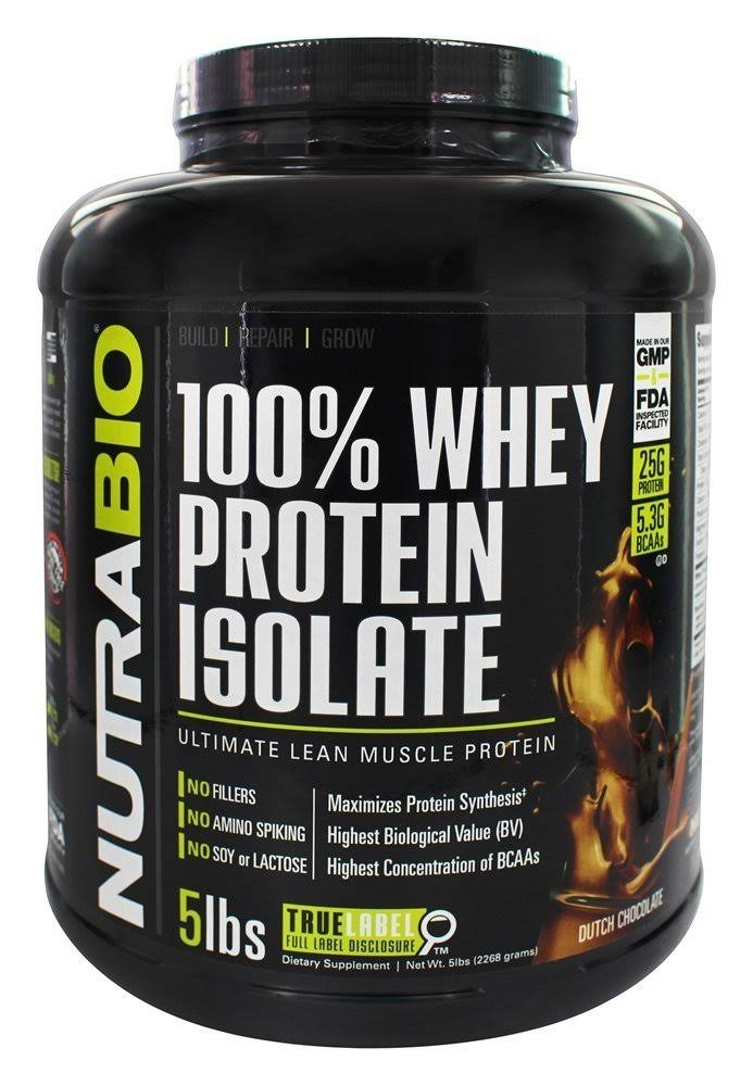 NutraBio 100 Whey Protein Isolate Sports Supplement - Dutch Chocolate, 5lb