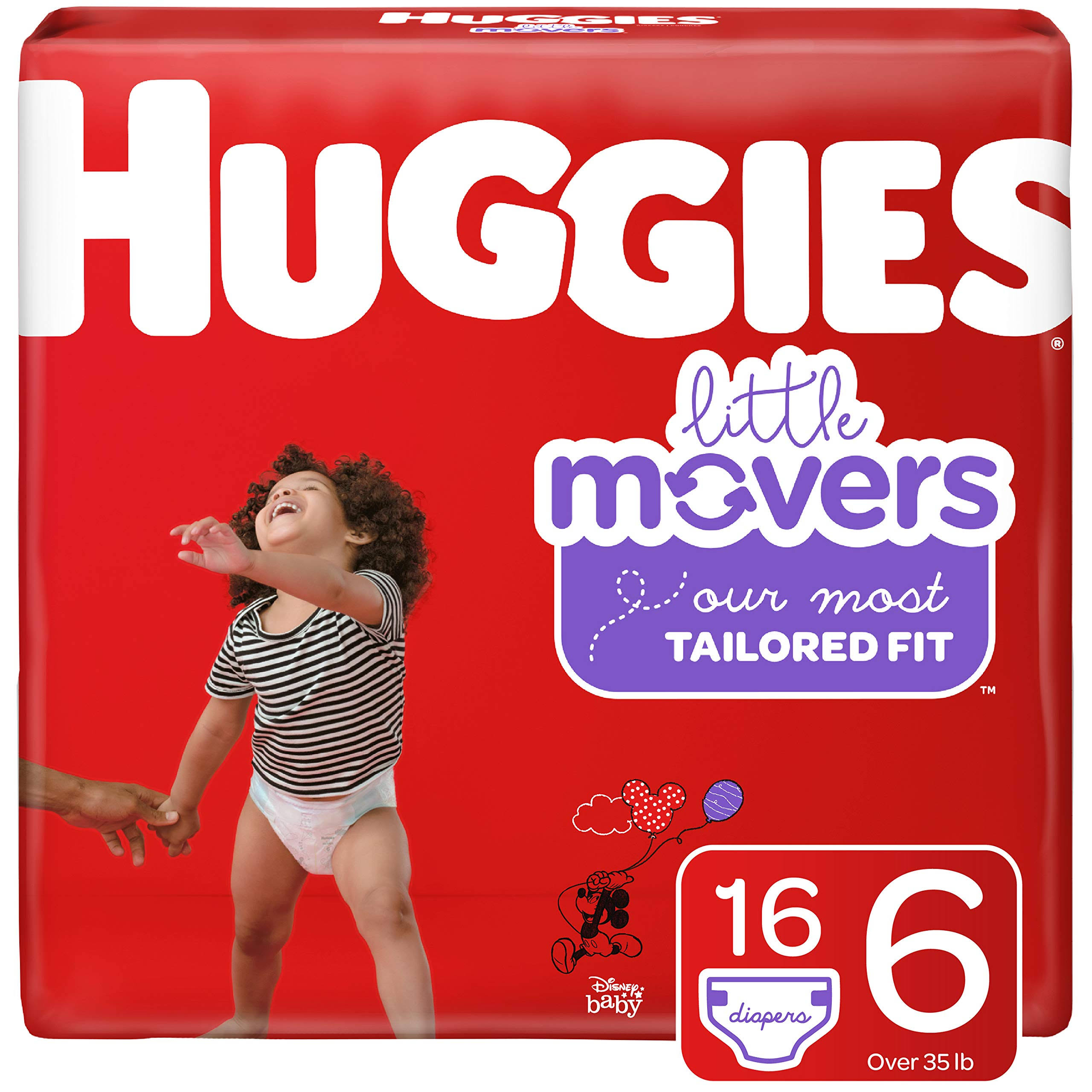 Huggies Little Movers Diapers - Jumbo Pack, Size 6, 18ct