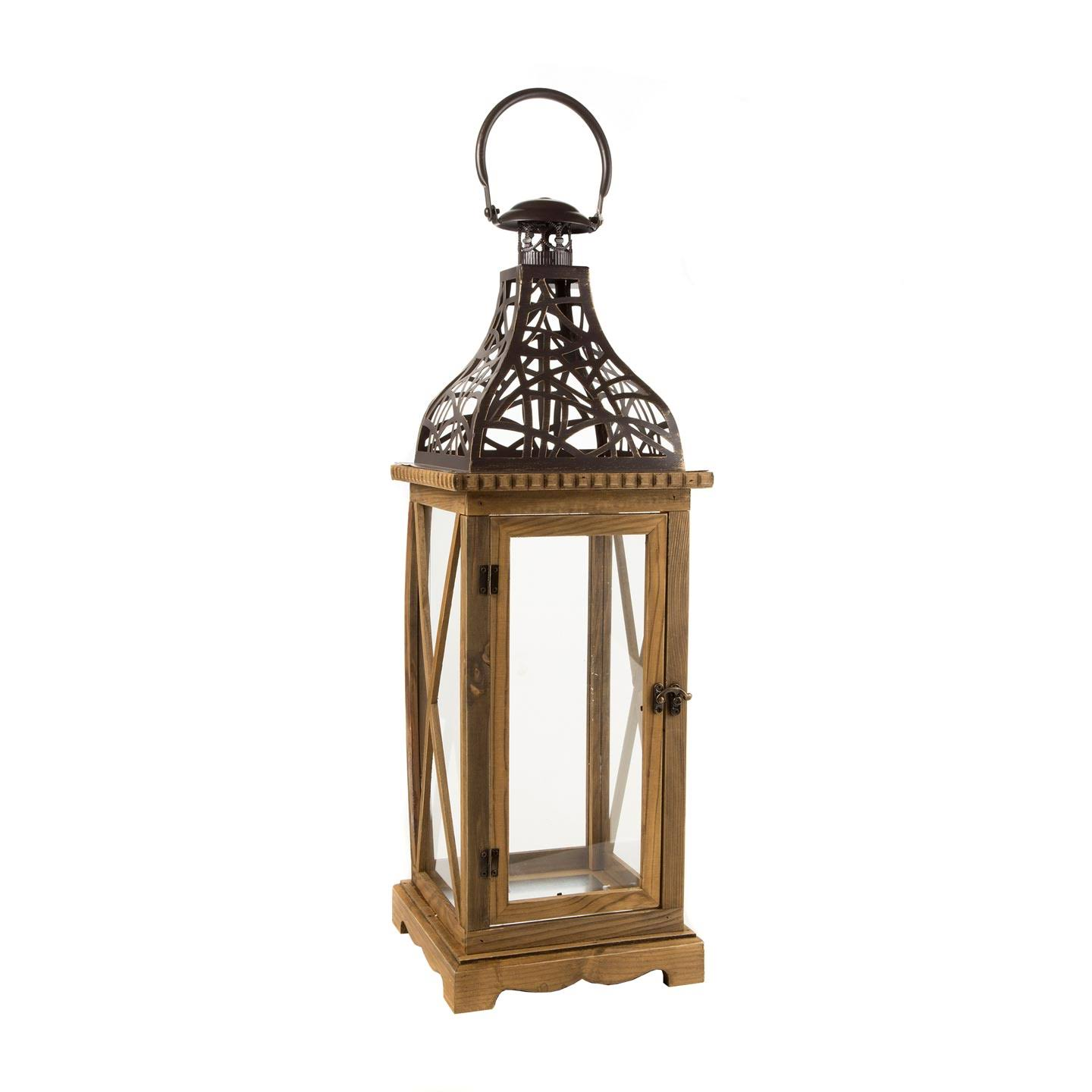 Darice Wooden Lantern - 8.85 x 26.3 x 8.85 Inches