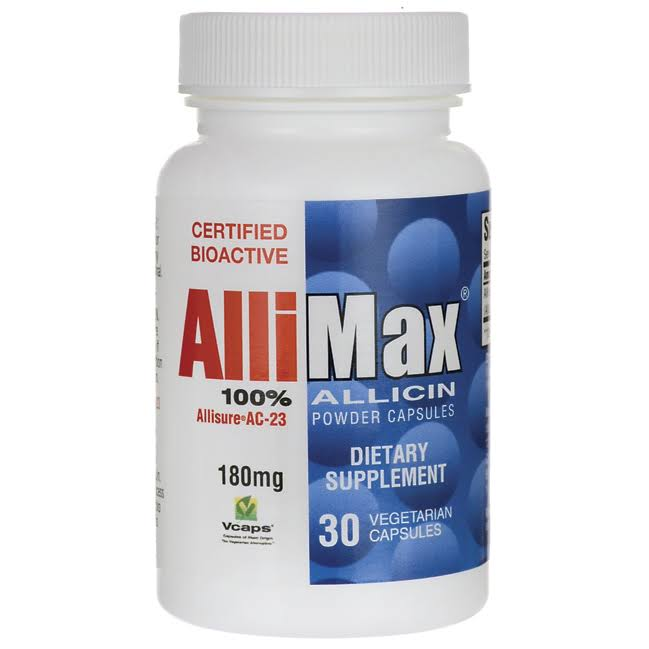 Allimax 100 Allicin Powder Capsules Dietary Supplement - 180mg, 30ct