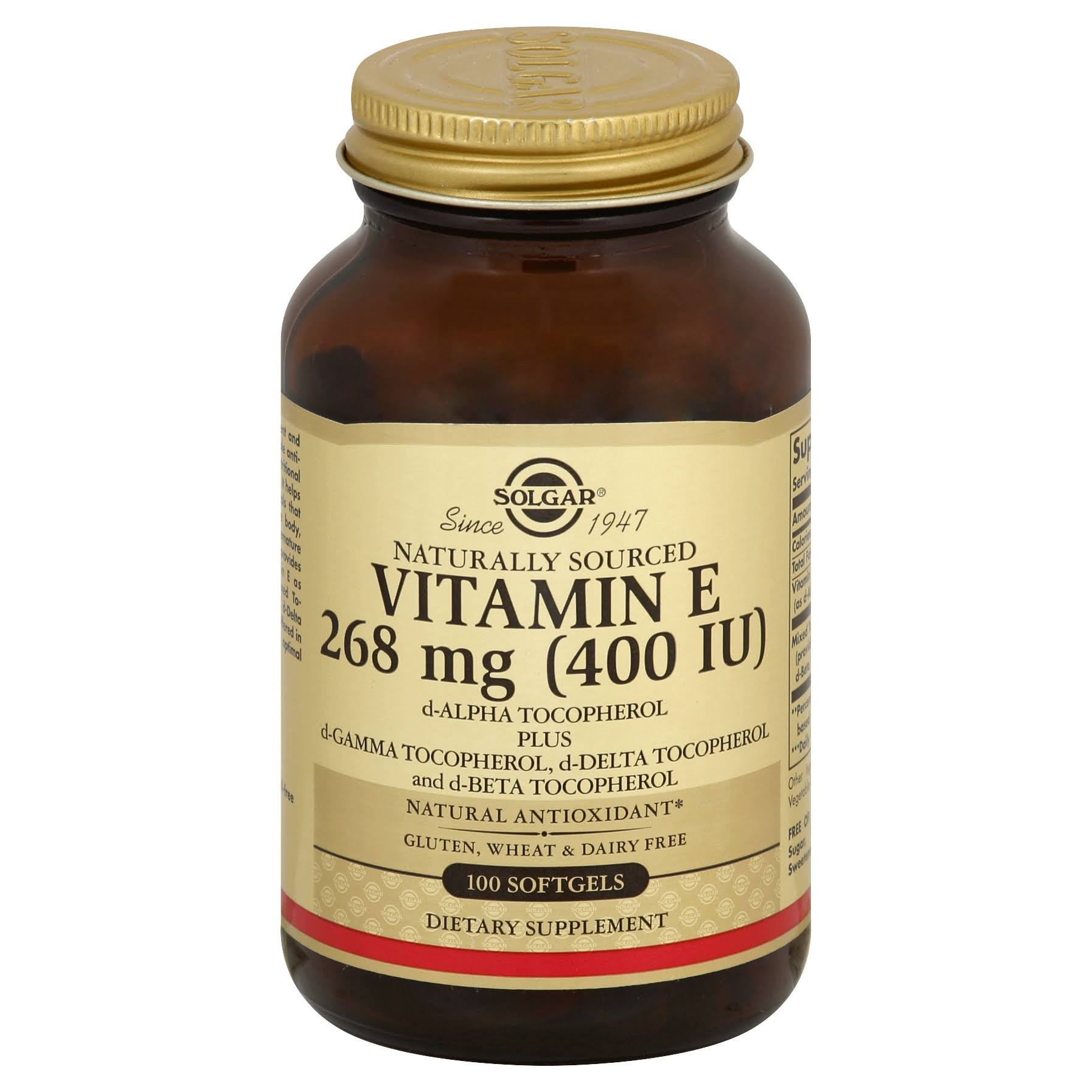 Solgar Vitamin E, 268 mg (400 IU), Softgels - 100 softgels