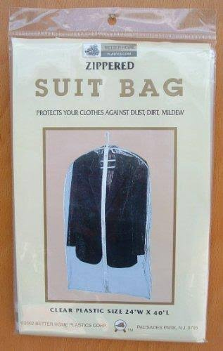 "Suit Bag, Zippered, Clear Plastic, 24"" x 40"""