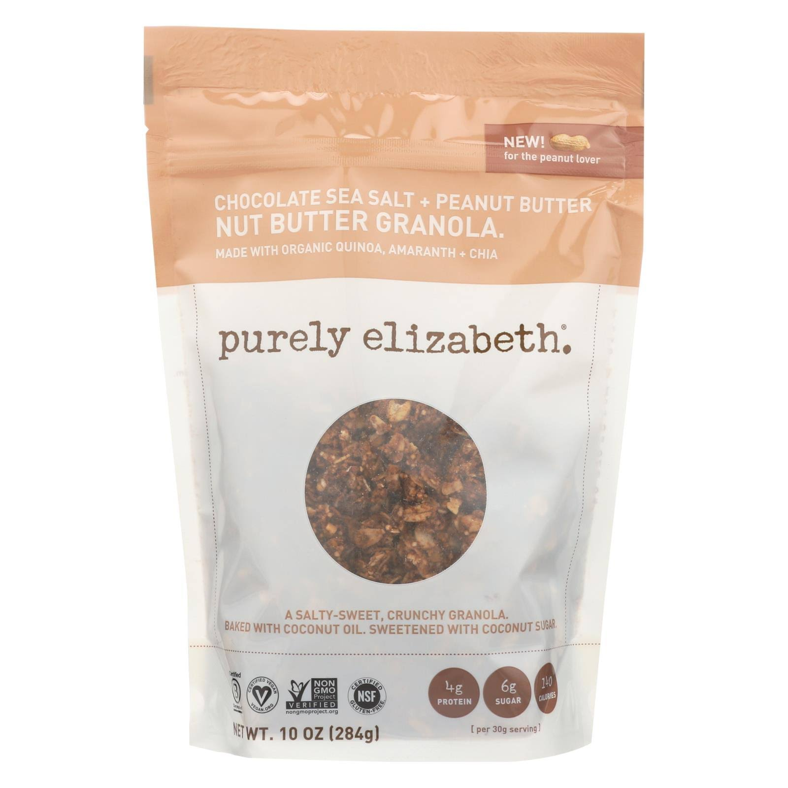 Purely Elizabeth Granola, Nut Butter, Chocolate Sea Salt + Peanut Butter - 10 oz