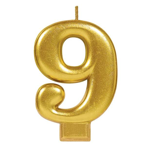 Amscan Metallic Numeral Candle - No. 9, Gold