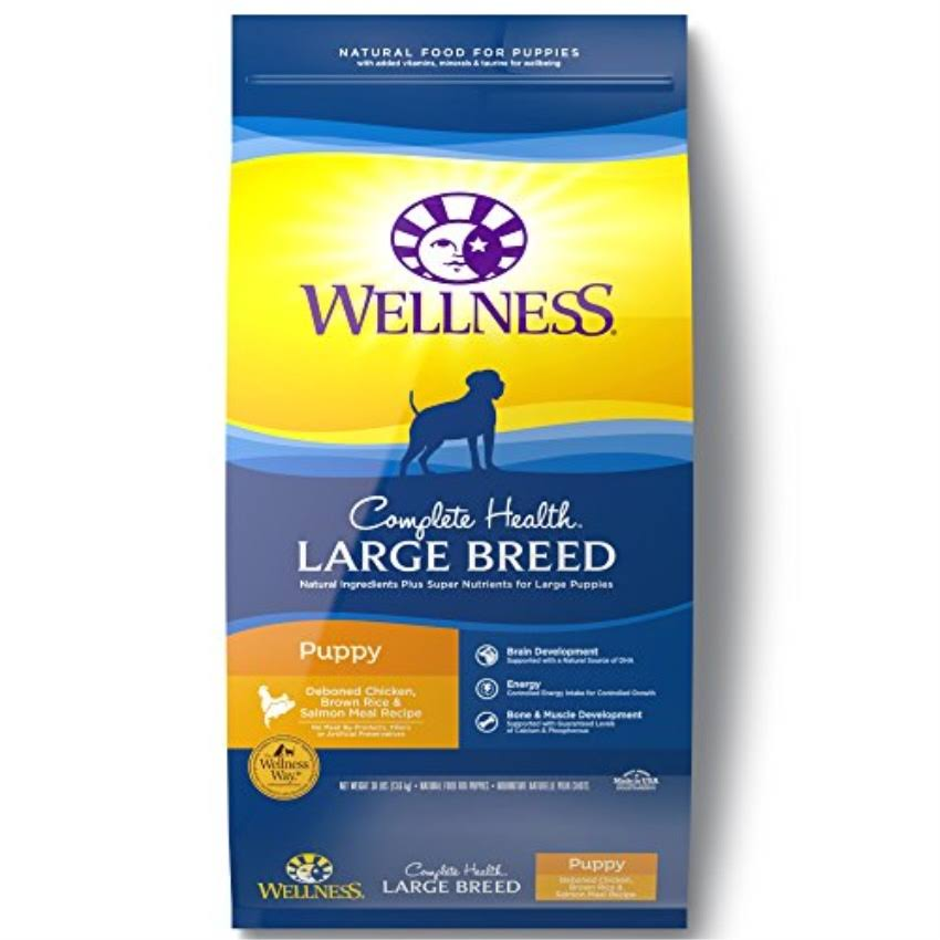 Wellness Complete Health Natural Dry Large Breed Puppy Food - Chicken, Salmon and Rice, 30lb
