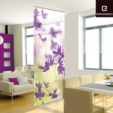 Modern Curtains For Living Room Uk by Beautifully Purple Flower Patterns Decorative Wall Dividers For