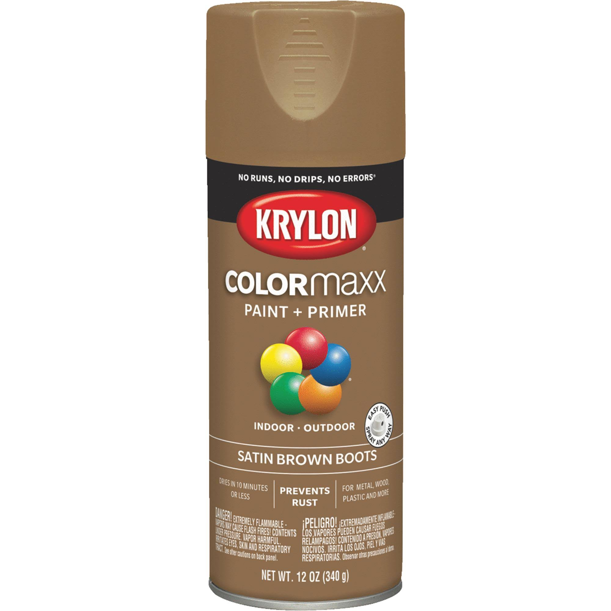 Krylon K05559007 COLORmaxx Spray Paint Satin Brown Boots 12 Ounce