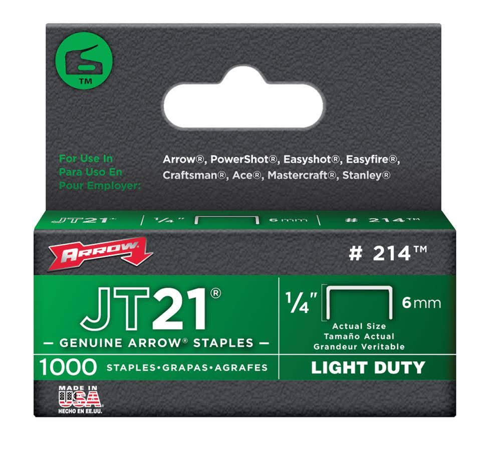 Arrow 214 Genuine JT21 Staples - 1000ct, 1/4""