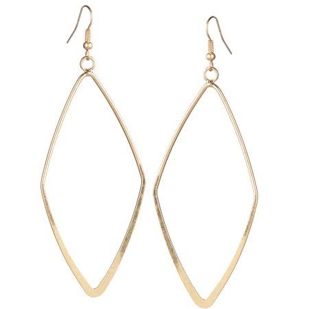 Jwest and Company Womens Large Diamond Shaped Earrings - Gold