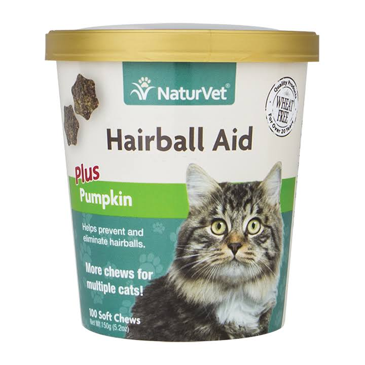 NaturVet Hairball Aid Cat Soft Chew - Plus Pumpkin, 100ct