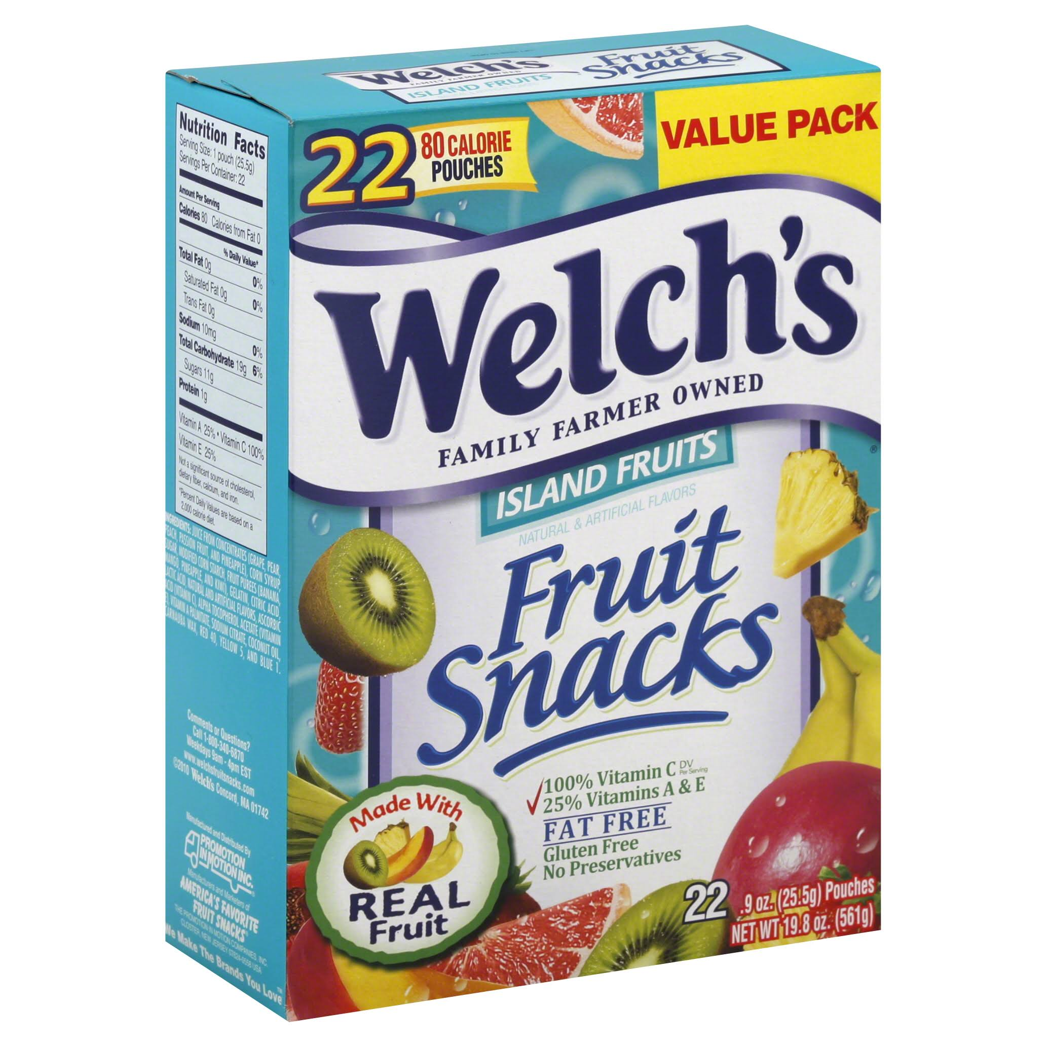Welch's Fruit Snacks - Island Fruits, 0.9oz, 22pk