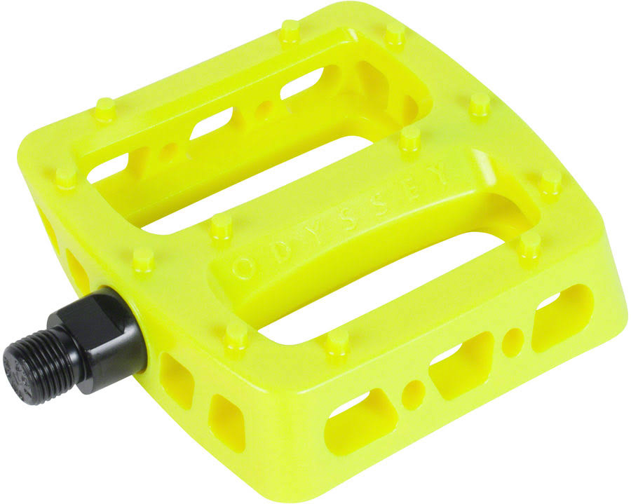 Odyssey Twisted Pro PC Pedals - Platform, Composite/Plastic, 9/16, Flourescent Yellow