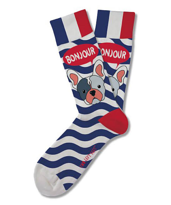Two Left Feet Sock Co. Women's Sock Blue Stripe 'Bonjour' Socks S/M