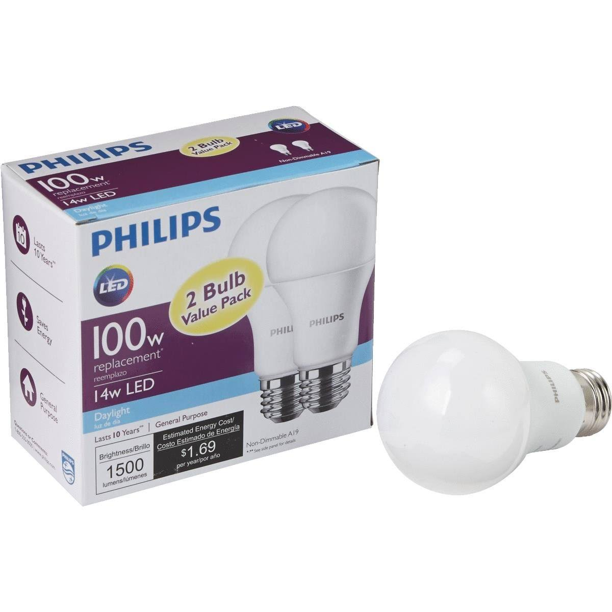 Philips A19 LED Light Bulb 462002