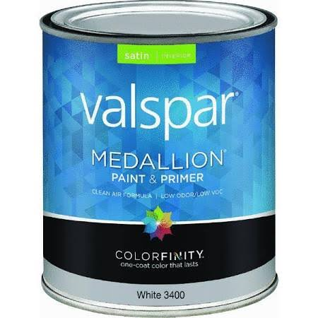 Valspar Brand Medallion Acrylic Interior Satin Paint - 0.9L, White Base