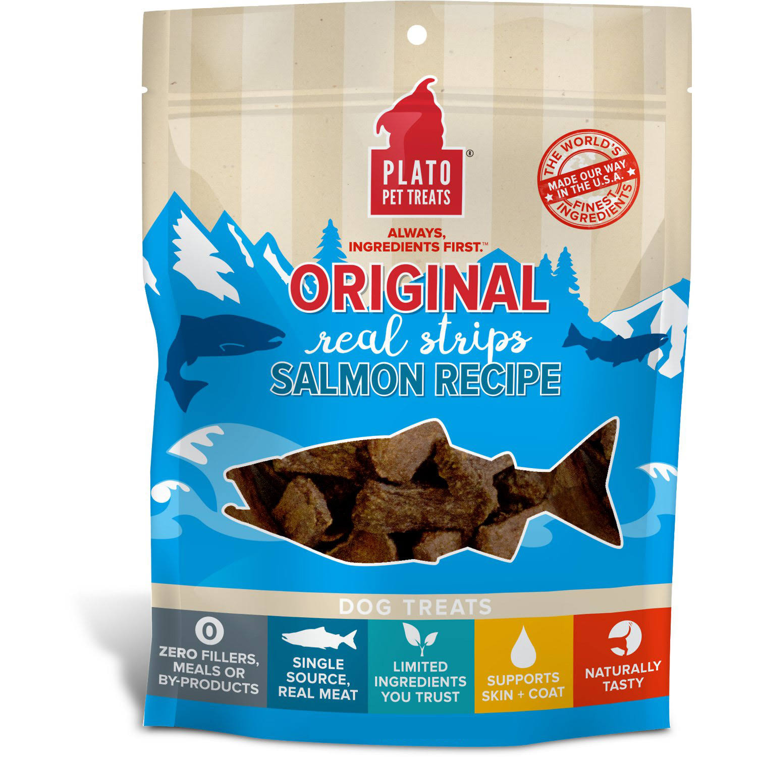Plato All Natural Salmon Strips Dog Treats - 18 oz