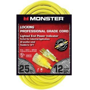 Monster Ag-12325ec Outdoor Extension Cord, 12/3 SJTW, Yellow