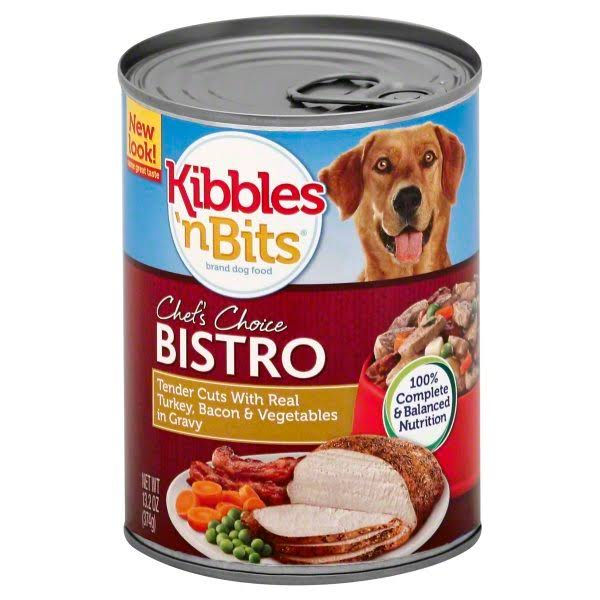 Kibbles 'n Bits Dog Food - Tender Cuts with Real Turkey, Bacon & Vegetables in Gravy, 13.2oz