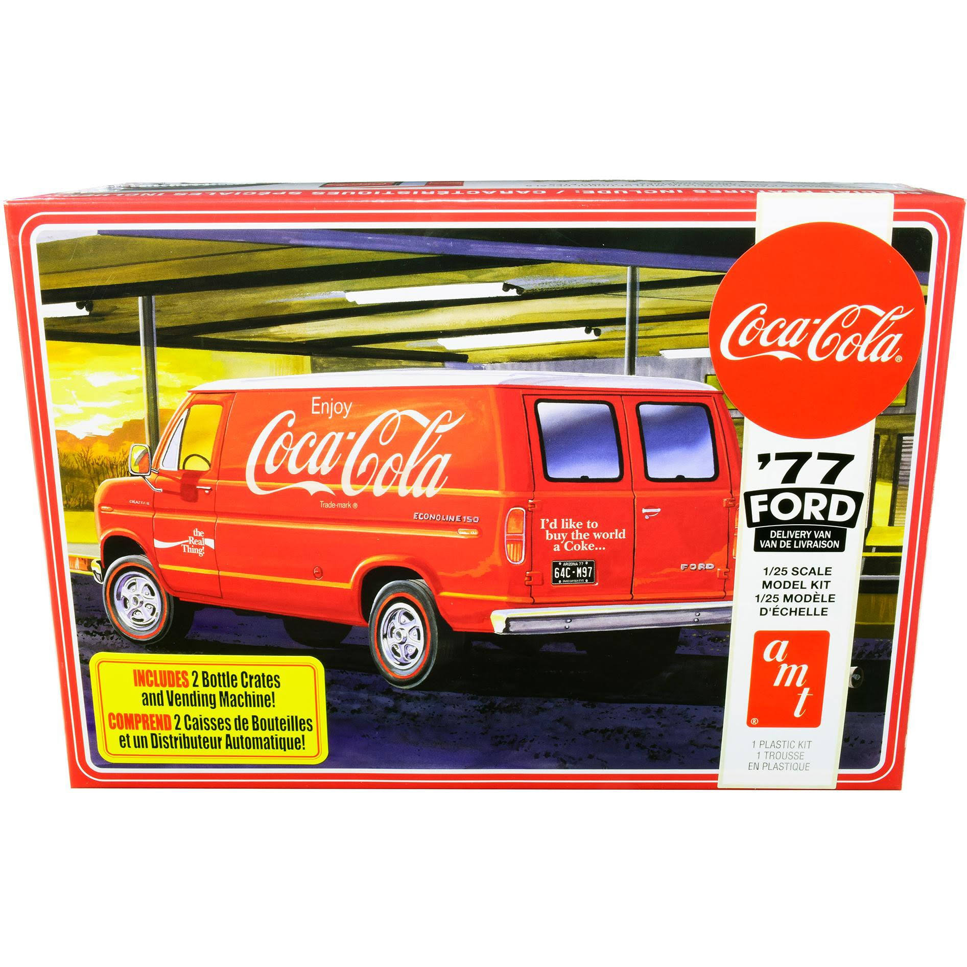 AMT 1173M 1977 Coca-Cola Ford Van Model Kit - 1:25 Scale, with Vending Machine