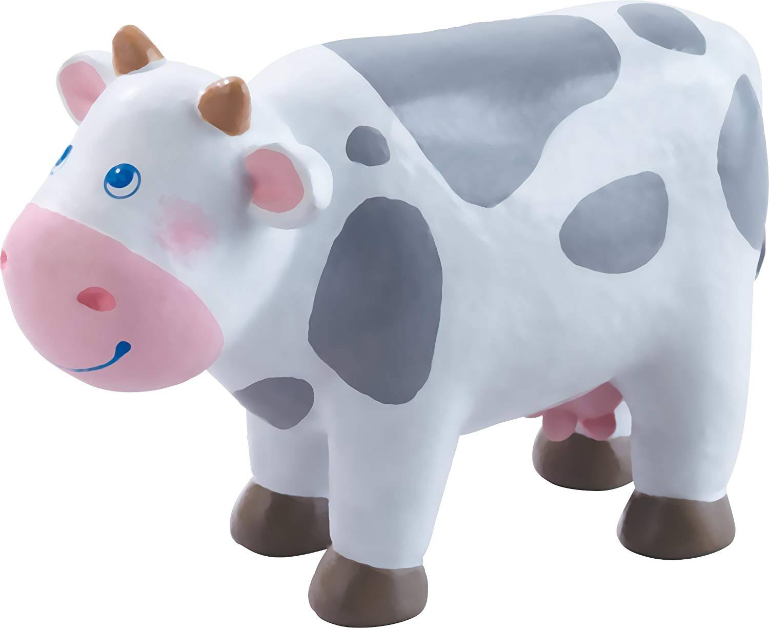 Haba Little Friends Cow Chunky Plastic Farm Animal Toy Figure - 4""