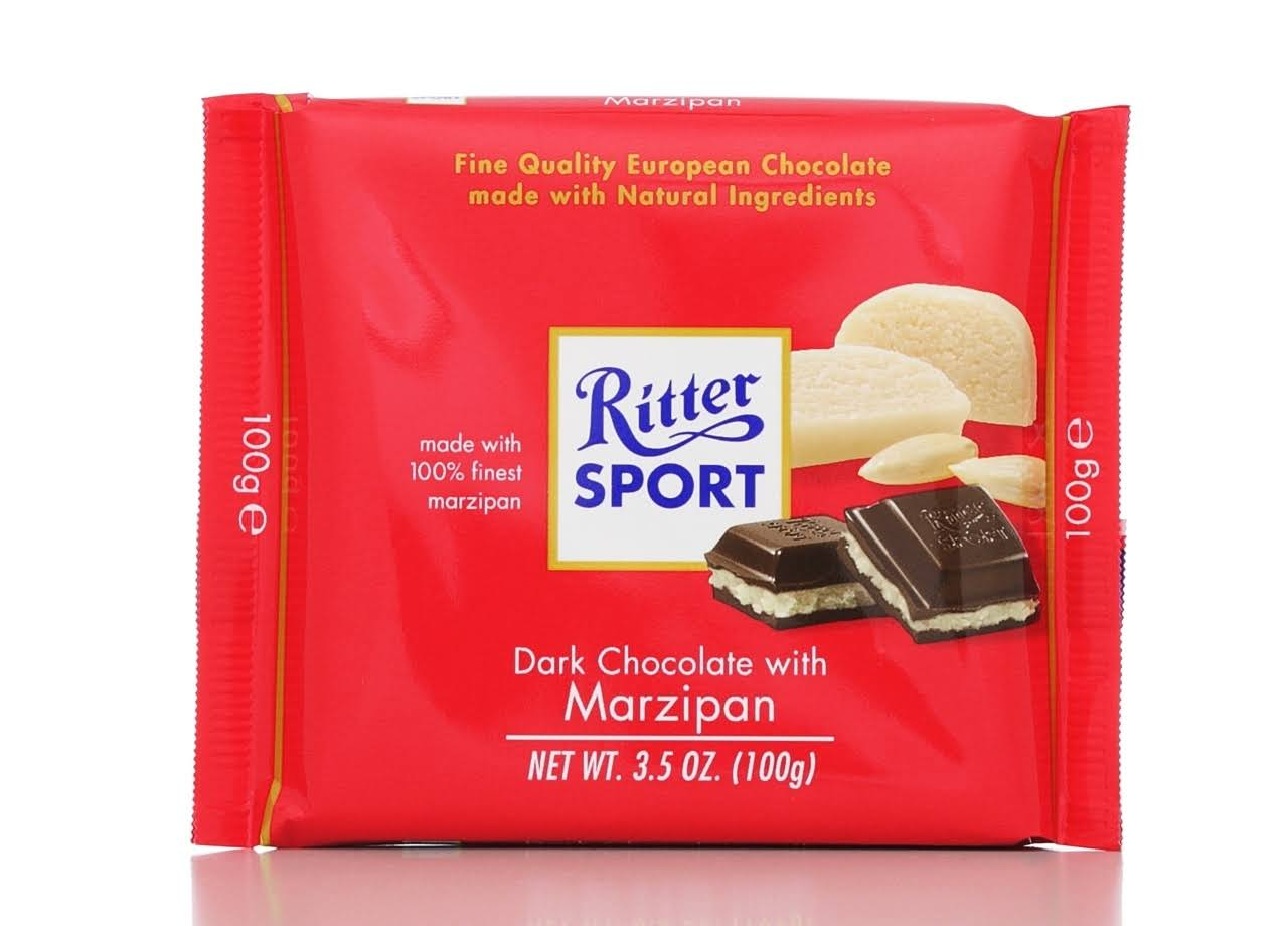 Ritter Sport Bars Dark Chocolate with Marzipan - 100g
