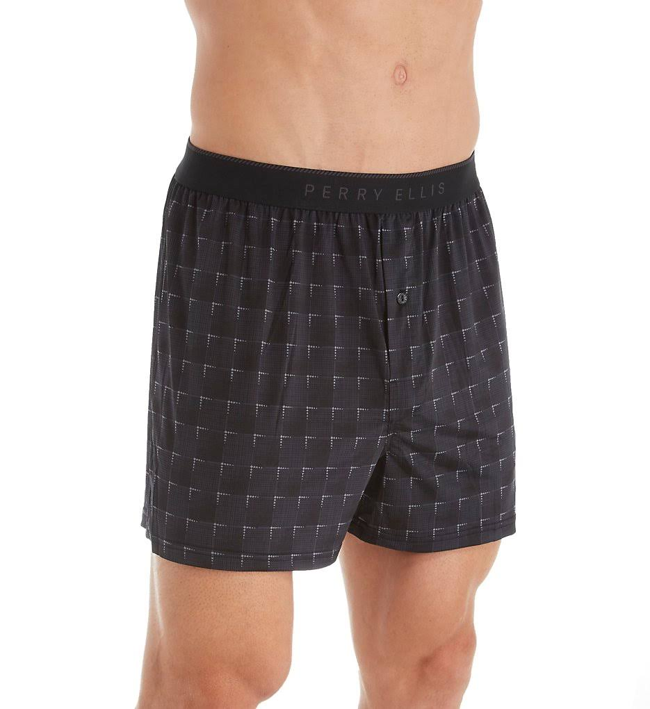 Perry Ellis Luxe Grid Print Boxer Short, Black/Ebony (163057) M