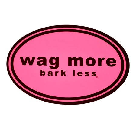 Wag More Bark Less Auto Car Office Magnet - Pink Background with Brown Font