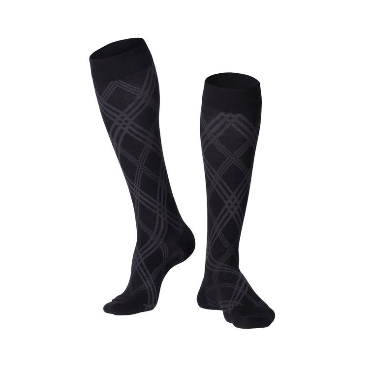 Touch Mens Compression Socks - Knee High, Argyle Pattern, 20 to 30 mmHg, Large, Black