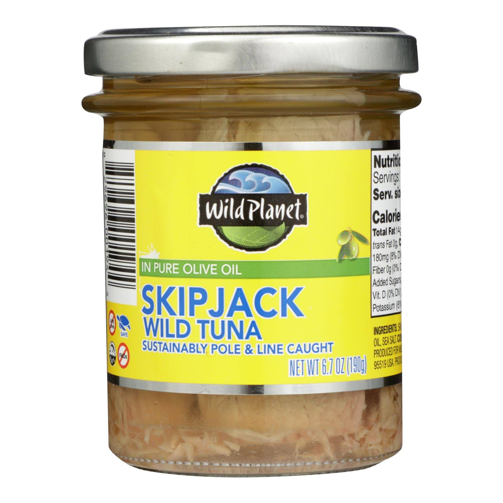 Wild Planet Wild Skipjack Tuna in Pure Olive Oil 6.7 oz Jar