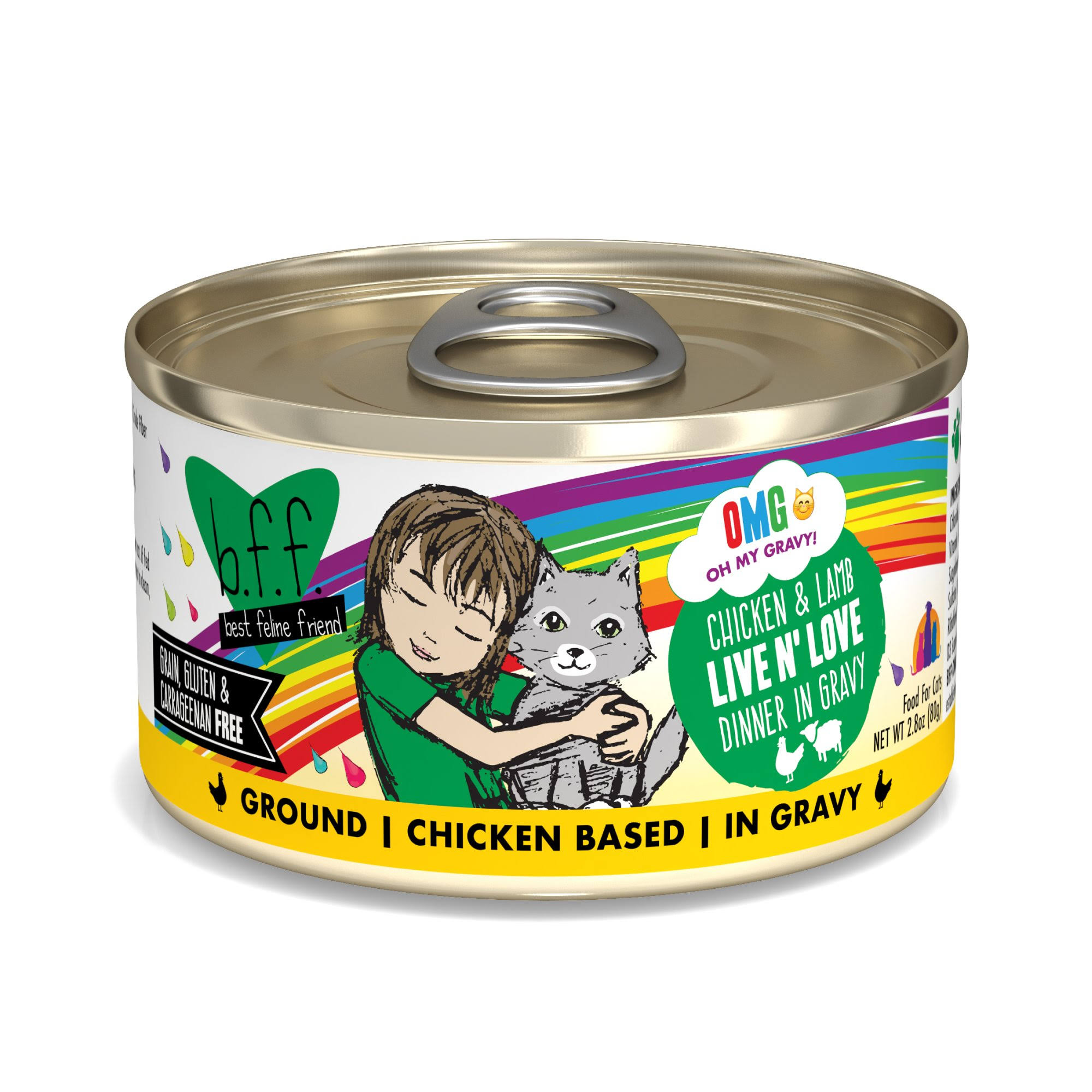 B.f.f. OMG Chicken & Lamb Live N' Love Dinner in Gravy OMG Food for Cats - 2.8 oz