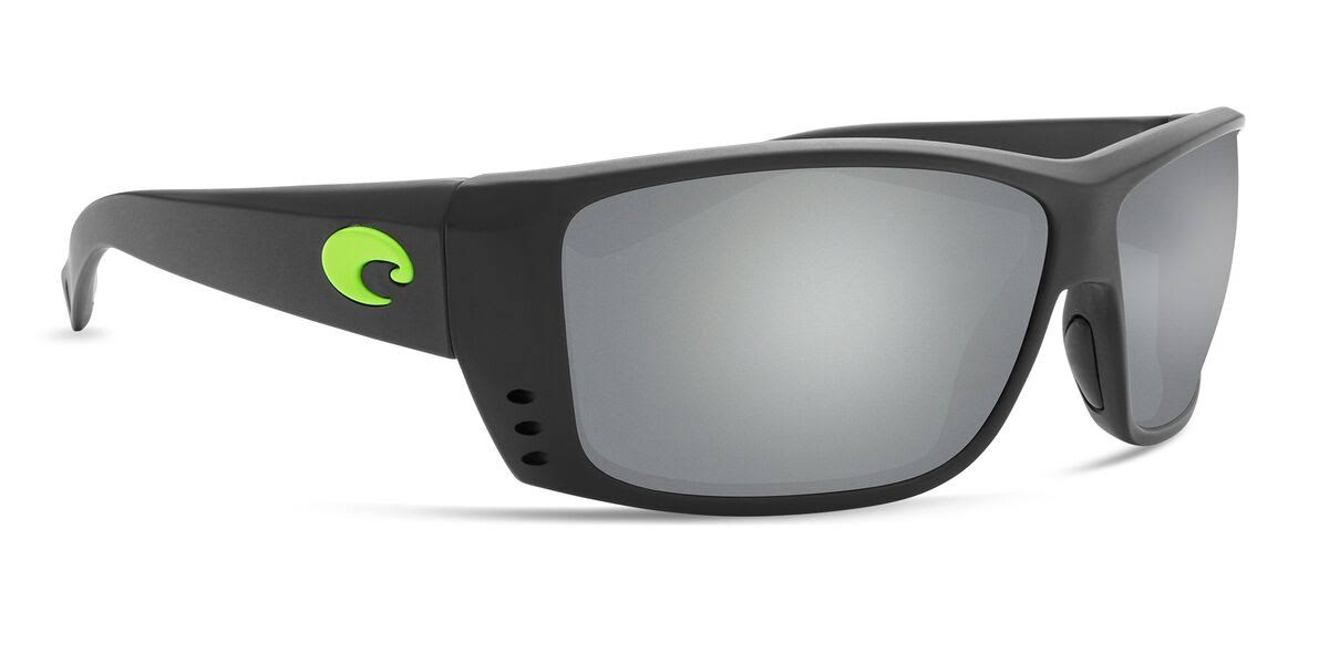 Costa Del Mar Cat Cay Sunglasses Matte Black w/Green Logo/Gray Silver Mirror 580Plastic