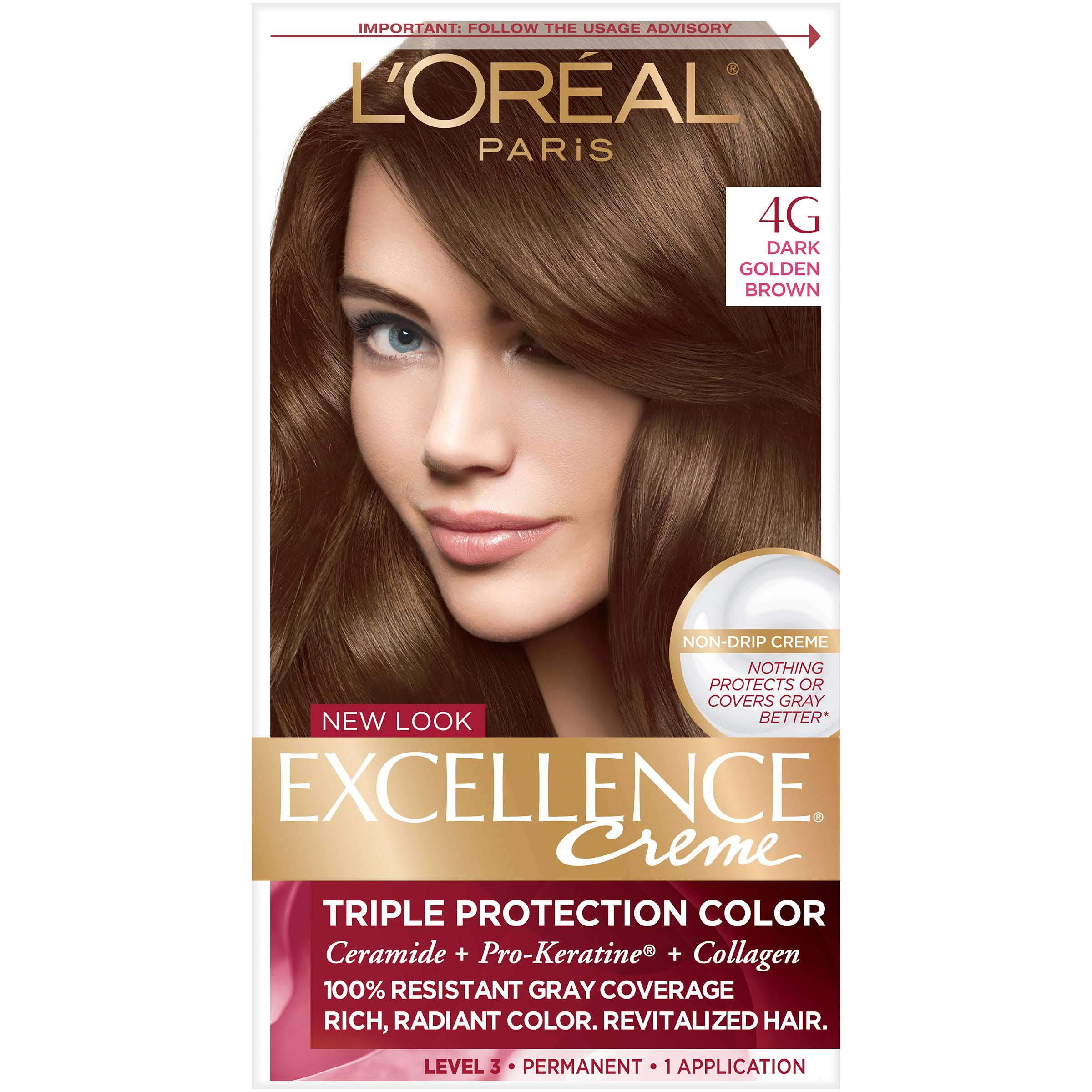 L'Oréal Paris Excellence Creme Hair Color - 4G Dark Golden Brown