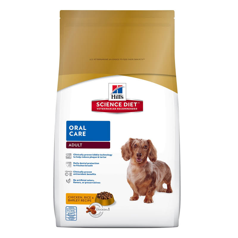 Hill's Science Diet Adult Oral Care Chicken, Rice & Barley Recipe Dry Dog Food, 4 lbs., Bag