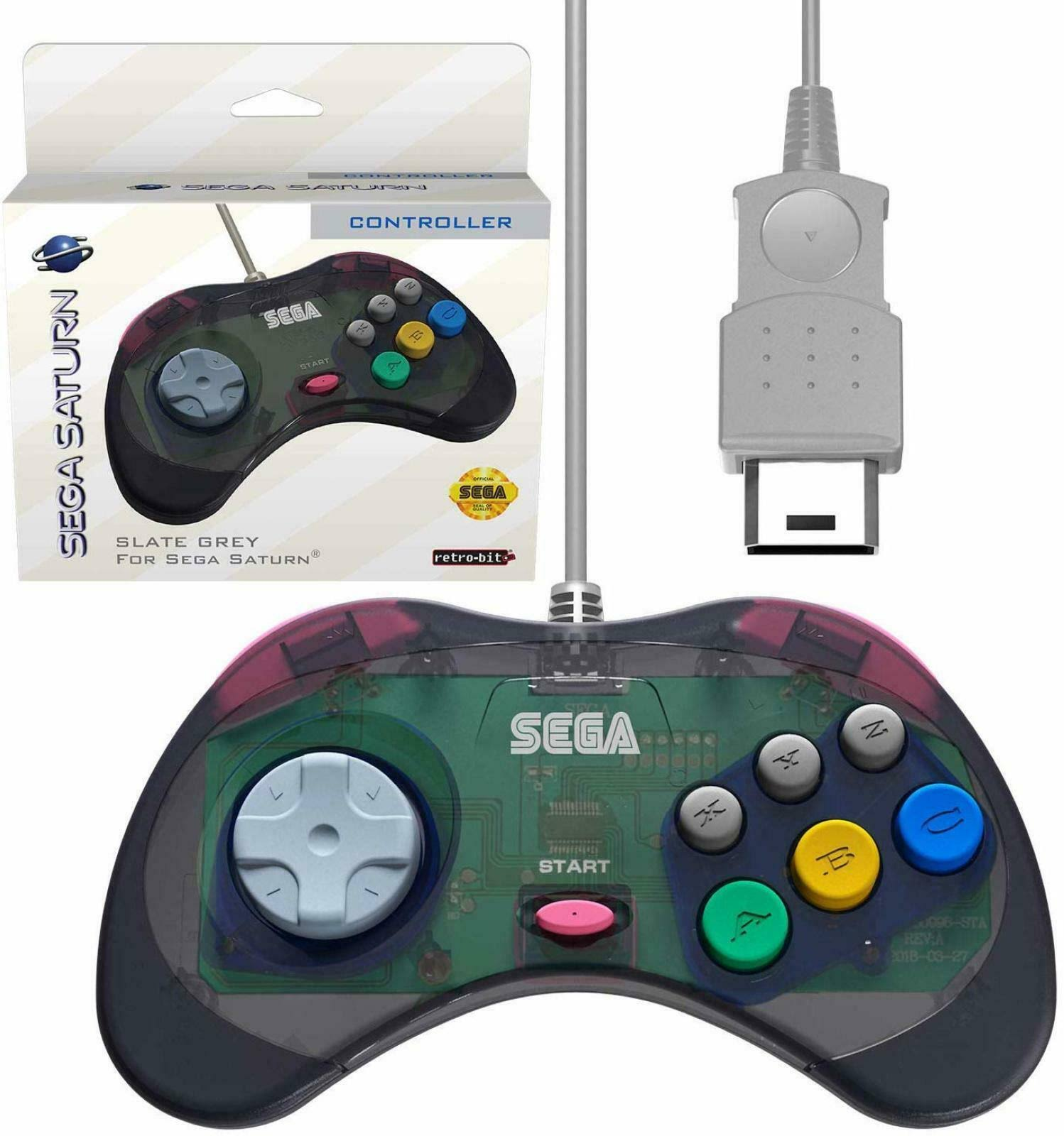 Retro-bit Official Sega Saturn Controller Pad for Sega Saturn - Original Port - Slate Grey